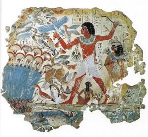 Una pintura en la tumba de Nebamun. En el antiguo Egipto, se veneraban a los gatos. Eran criados por la gente adinerada y enterrados en cementerios especiales.